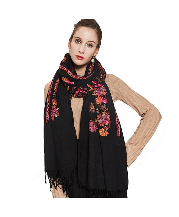DANA XU Embroidery Wool Large Size Winter Women Pashmina Shawls and Wraps - Red Black - CV186S7YCXC