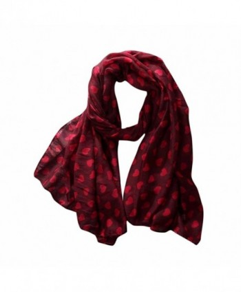 DEESEE(TM) Women Ladies Love Heart Print Pattern Long Scarf Warm Wrap Shawl - Red - CX12O5DUXR3