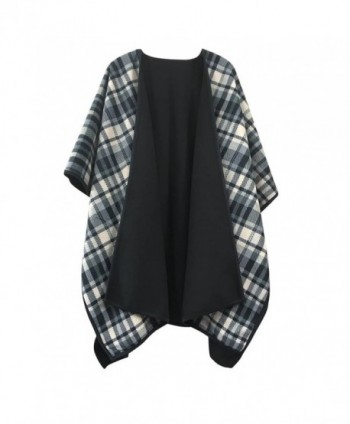 Winter Poncho Cape Women's Shawl Classic Black Plaid Open Front Reversible Sweater Cardigan Coat - CH186MZRHDU