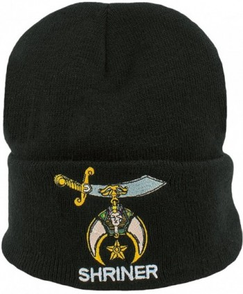 Shriner Beanie Black Cuffed Lodge Winter Skull Cap Hat Associated Mason - CV129FOPVON