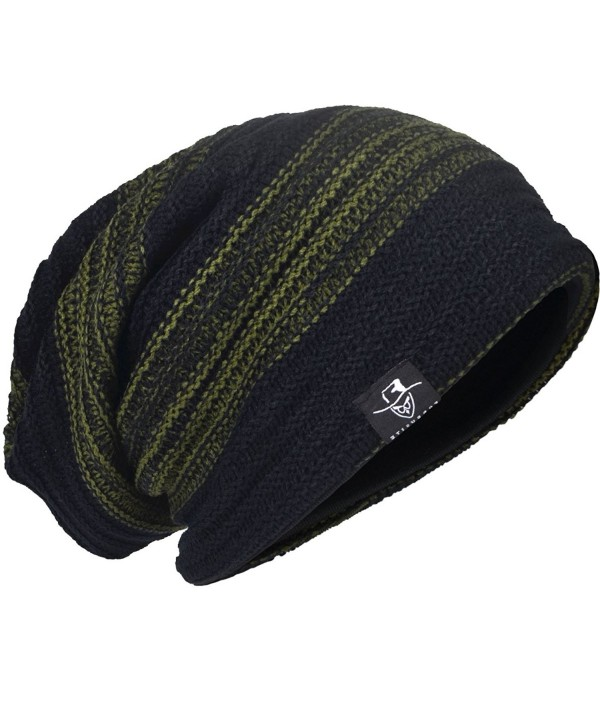 JESSE &middot RENA Men's Slouch Beanie Knit Hats Stretchy Ski Caps CDB306 - Green - C212MZ0KP61