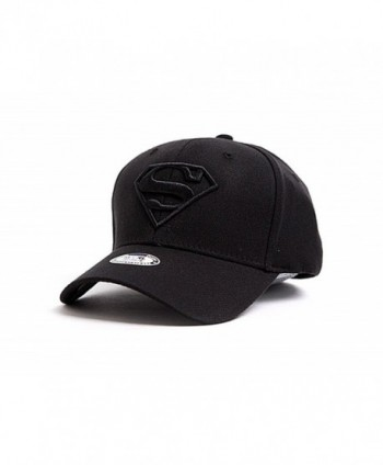myglory77mall Superman Shield Embroider Baseball Cap Spandex Fitted Trucker Hat - All Black - C912ETTEYJ7