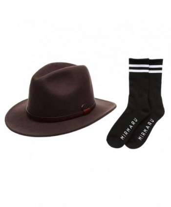 Men's Premium Wool Outback Fedora with Faux Leather Band Hat with Socks. - He61-brown - C512MZL9U0V