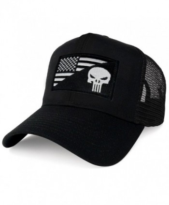 AC Racing USA American Flag Patch Snapback Trucker Mesh Cap - Black - Punisher Black White - CB1865XY7OH