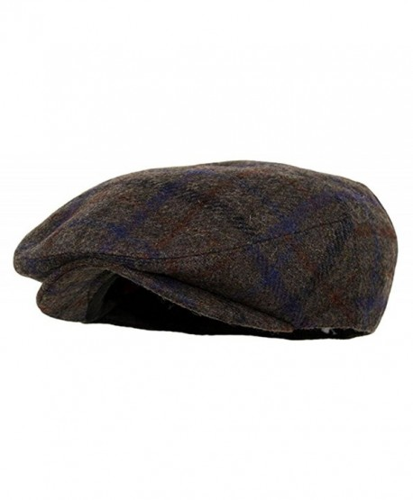 Men's Premium Wool Blend Snap Brim Newsboy Cabbie Cap Hat - Plaid Brown - CT187DXL6DH