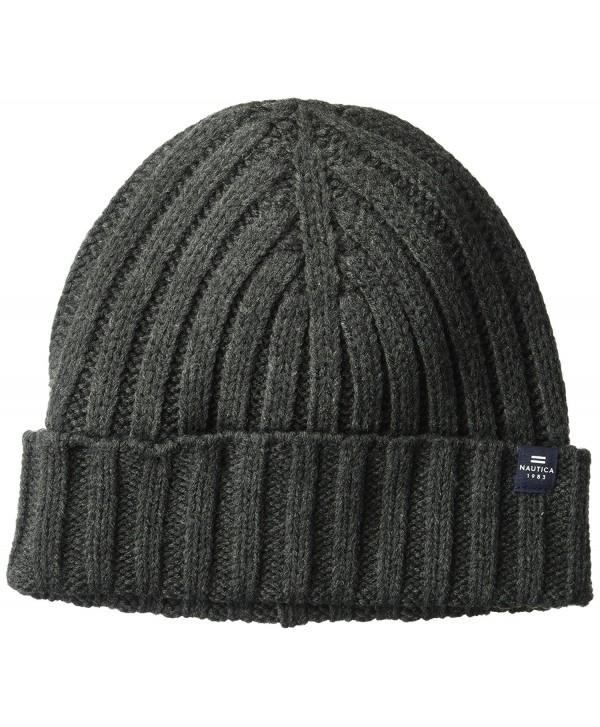 Nautica Men's Ribbed Cuff Hat With Logo Tab - Granite Heather - CX186NXUC3R