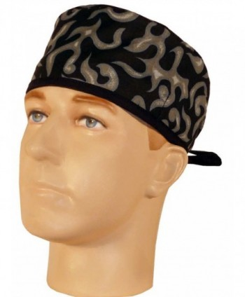 Mens And Womens Medical Scrub Cap - Grey Liquid Flames W/ Black Ties - C712IT1608J