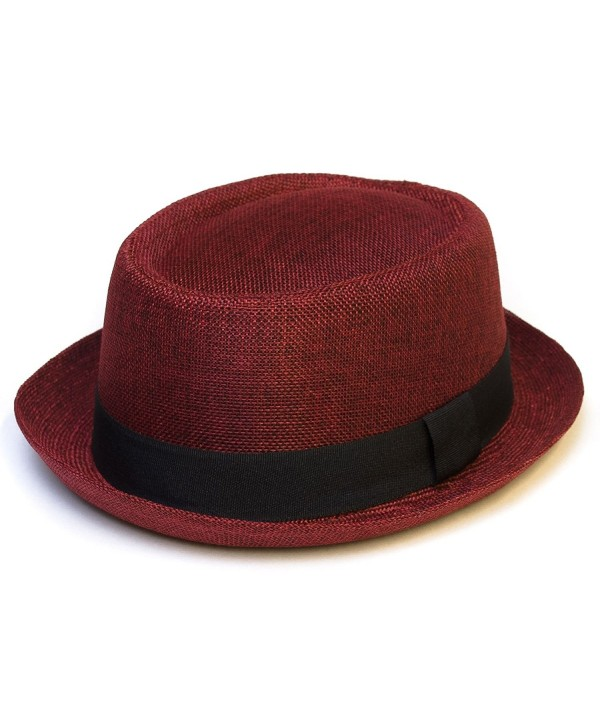 Pork Pie Hat With Black Grosgrain Band - Red - C5125ZZGN4N