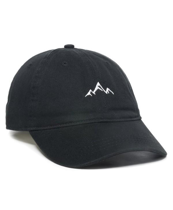 Outdoor Cap Mountain Dad Hat - Unstructured Soft Cotton Cap - Black - C5188LGO8TZ