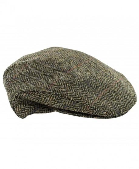 Mucros Weaver Trinity Tweed Flat Cap-Green Herringbone - C312O4YQ2ST