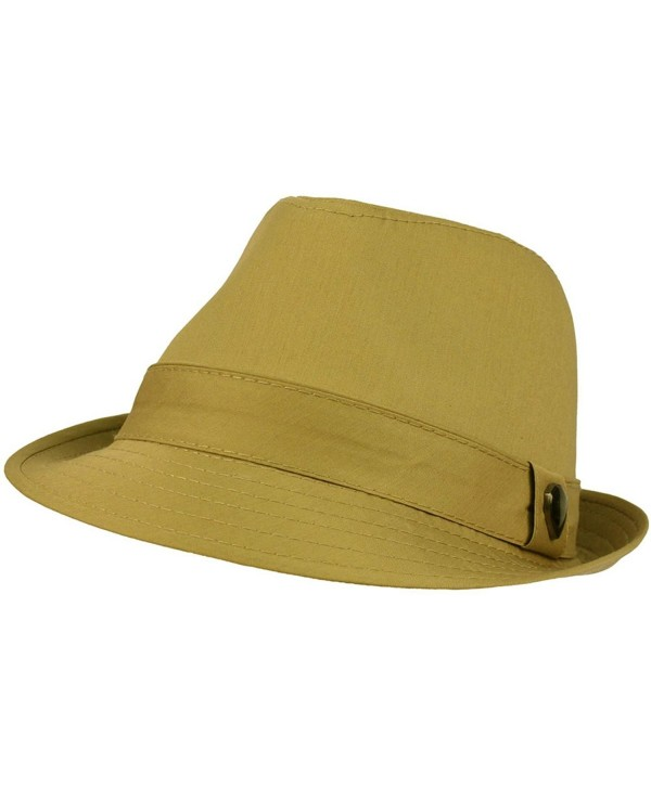 Men's 100% Cotton Summer Cool Solid Blank Fedora Derby Trilby Hat - Khaki - C611912Q3Q5