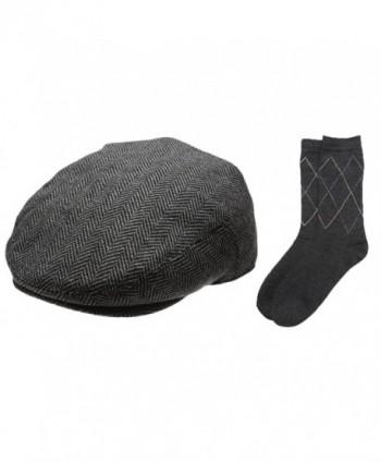 Newhattan Men's Collection Wool Blend Herringbone Tweed newsboy IVY Hat With Dress Socks. - Charcoal - CL12IJU0LEJ