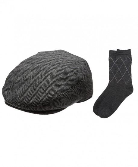 6d13aec2123 Newhattan Men s Collection Wool Blend Herringbone Tweed newsboy IVY Hat  With Dress Socks. - Charcoal