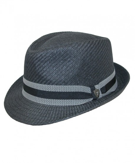 Dorfman Pacific Men's Toyo Straw Fedora With Striped Band - Black - CV17YDCOU4H