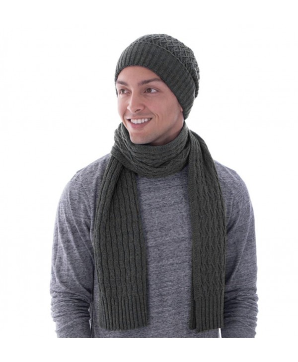 Toppers Unisex Heathered Womens Mens Fall/Winter Knit Beanie Scarf Set - Charcoal - CY186UZXU9X