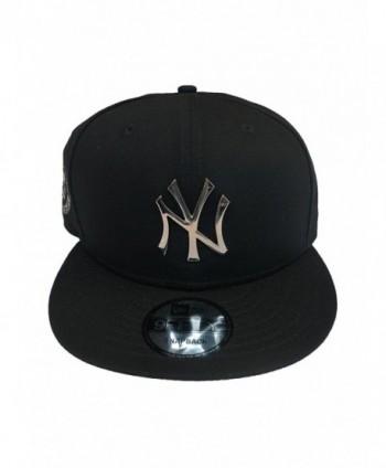 New York Yankees Blue Metal Badge Silver New Era 950 Mlb Hat Snap Cap Ny - Silverblack - C1186OUZDZZ