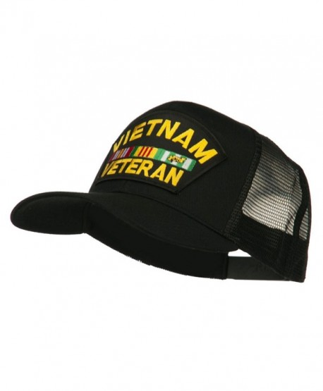 Vietnam Veteran Military Patched Mesh Back Cap - Black - CW11ND5JI2H