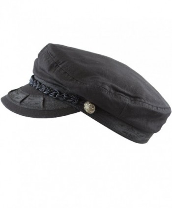 The Hat Depot Unisex Cotton Yachting Style Sailing Greek Fisherman Cap hat - Black - C017Z7EG5Q0