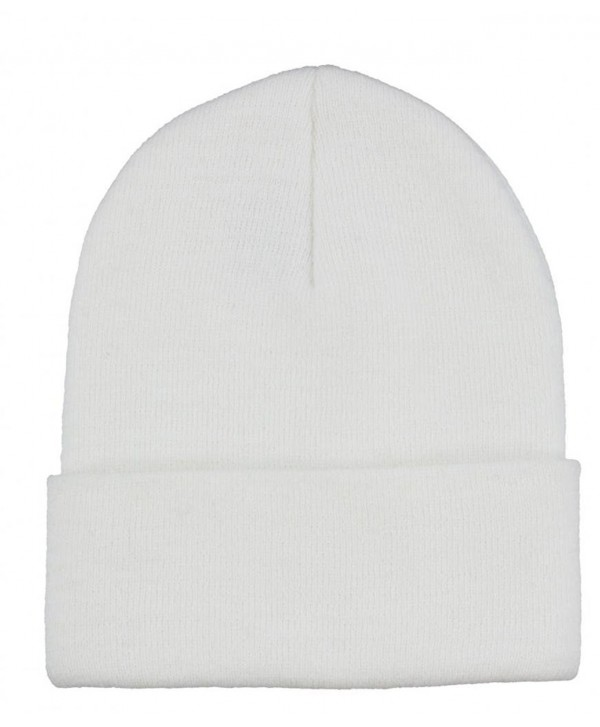 Milani Winter Fashion Thick Warm Knitted Beanie Hat Cap with Cuff - White - CZ11PXAZSHX