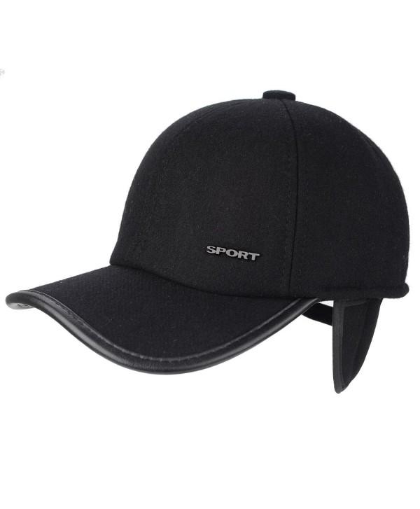 Flammi Men's Winter Fleece-Lined Earflap Visor Hat Adjustable Baseball Cap - Black/Woollen - C018884L253