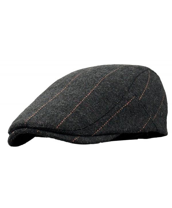 SportsWell Men's Classic Wool Cabbie Driving duckbill Hat IVY Flat Cap newsboy Hat - Black - CT18035D9W8
