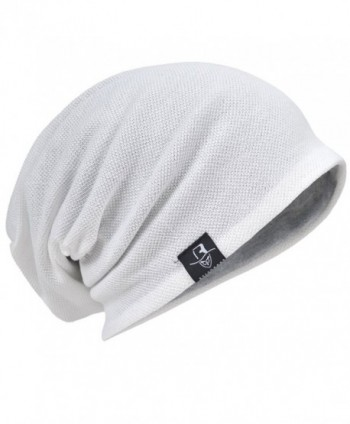 HISSHE Men Slouch Beanie Baggy Slouchy skullcap Knit Hat - White - CQ1832O5DH8