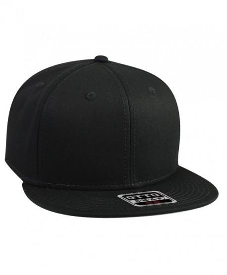 Otto Snap Cotton Twill Round Flat Visor 6 Panel Pro Style Snapback Hat - Black - C912FN5VXHR