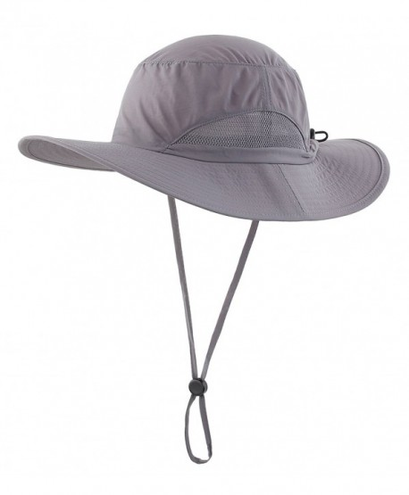 Home Prefer Men's Sun Hats Breathable Light Weight UPF50+ Wide Brim Fishing Hat - Dark Gray - C1127G5DWBR