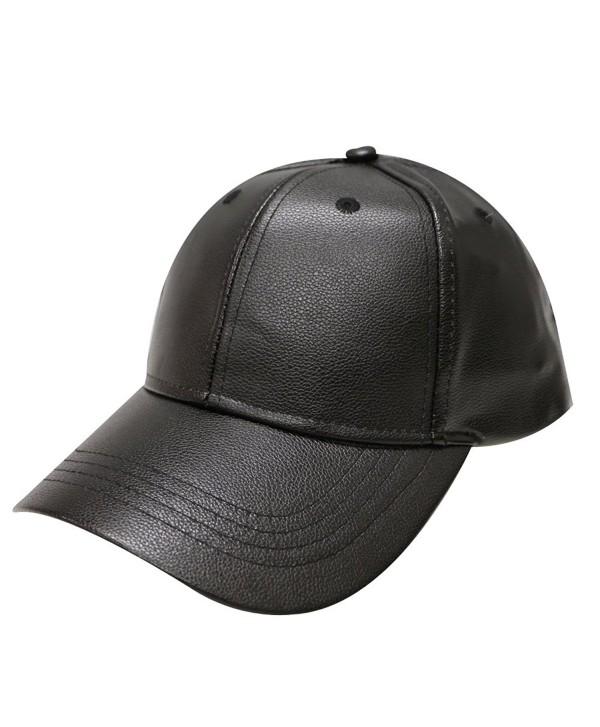 City Hunter Lc100 Plain Leather Cap (10 Colors) - Black - CX12MX26GYY