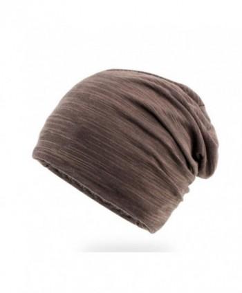 Elwow Men's Breathable Thin Cotton Yarn Fabric Slouch Comfort Daily Skull Beanie Stretch Fit Hat Cap - Coffe - CU17YCA70MK