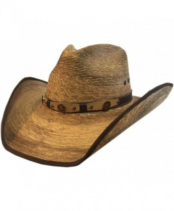 BULL-SKULL HATS- PALM LEAF COWBOY HAT- PINCH 301 - Natural Palm - C711VWS0619