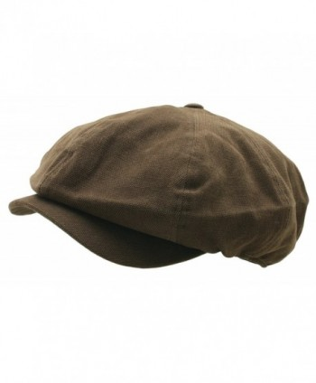 Men 8 panel Newsboy Hat Light Washed Cotton Canvas Gatsby Retro Golf Cap - Dark Brown - CV17YHKCH3U