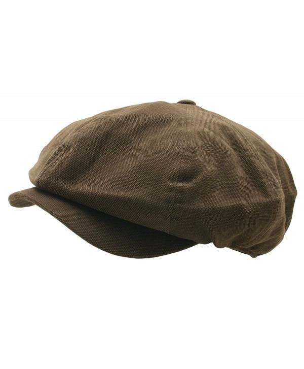 Men 8 panel Newsboy Hat Light Washed Cotton Canvas Gatsby Retro Golf Cap - Dark Brown - CV17YHKCH3U