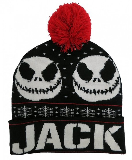 Nightmare Before Christmas Jack Skellington Black Men's Beanie Hat [4013] - CF12MC0LNQ7