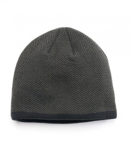 Van Heusen Men Herringbone Fleece Lined Beanie Hat Black Grey One Size - CS12NTIWER4