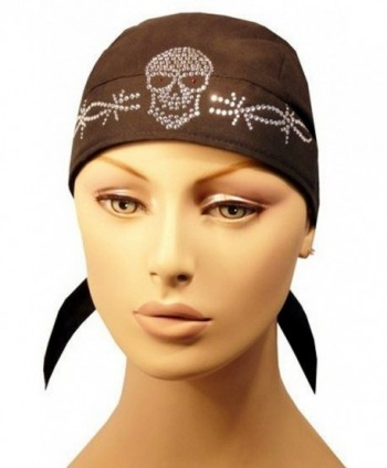 Rhinestone Skull Cap - Biker Caps Skull w/Barbed Wire on Black Headwraps - CM12ELHNA05