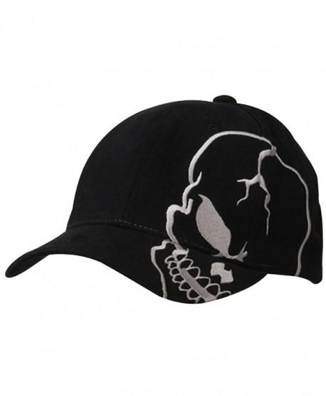 Skull Skeleton Cotton Adjustable Baseball Cap - Black/Grey - CC110H0B9MX