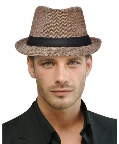 Harcadian Unisex Classic Trilby Short Brim Manhattan Fedora Hat Panama Hat - Brown/Tan - C8189T2OILQ