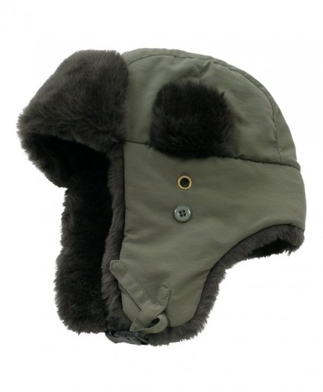 Decky Faux Fur Trooper Police Aviator Style Winter Hat (Olive- Large/XL) - C5110QTCIZR