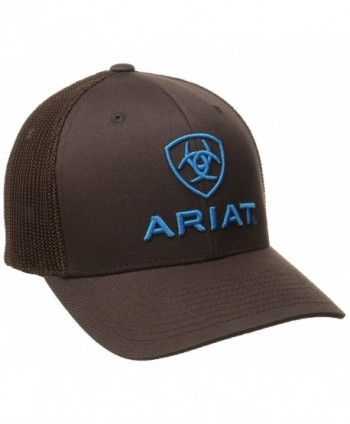 Ariat Men's Brown Blue Half Mesh Hat - Brown - CW11LXM5IDZ