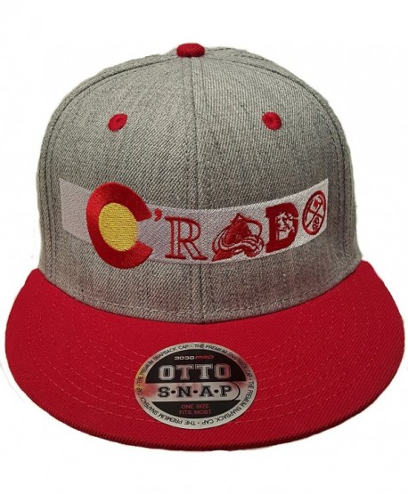 Colorado Flag Snap Back Flat Bill Hat. Crado Hat. Colorado Flag With Sports Teams - Heather/Red - CJ12LP17UC5