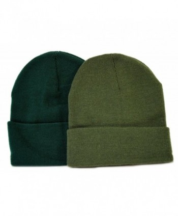Great Deals! 2 Pack Knit Beanies / Hunter & Olive Green - CQ110ZWMWGP
