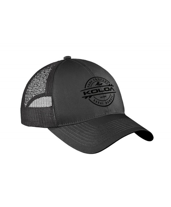 "Koloa Surf Thruster Logo ""Old School"" Curved Bill Mesh Snapback Hats - Charcoal With Black Embroidered Logo - CU17YOLOHO2"