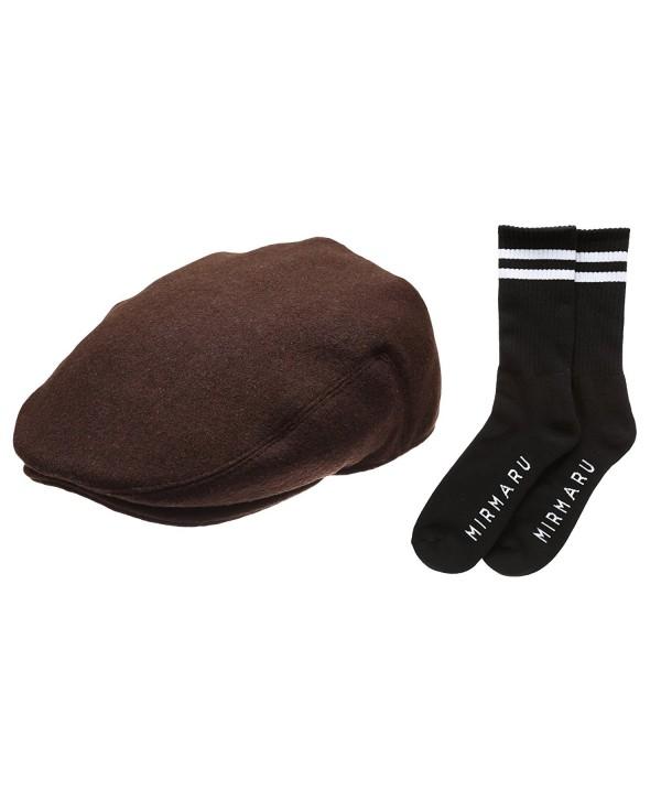 Newhattan Men's Premium Wool Blend Classic IVY Hat With Socks. - Darkbrown - CV12I5DZABX
