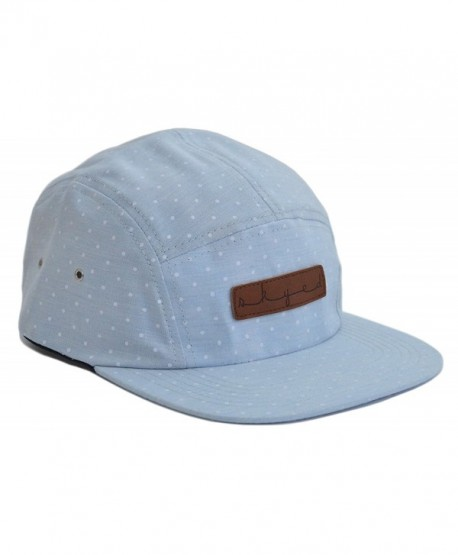 Skyed Apparel 5 Panel Hat Collection With Genuine Leather Strap (Multiple Colors) - Baby Blue Polka Dot - CI12I0TLCE7