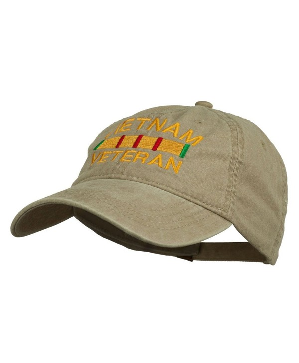 Vietnam Veteran Embroidered Pigment Dyed Brass Buckle Cap - Khaki - CC11P5I7GFB