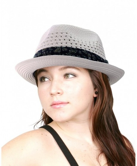 NYFASHION101 Solid Color Straw Woven Paisley Band Vented Unisex Fedora Hat - White - CF11Y7EKNCH