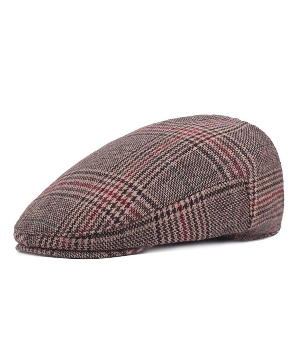 ZLSLZ Mens Woolen Plaid Flat IVY newsboy Cabbie Gatsby Paperboy Hats Caps For Men - Brown - CX1867020XS