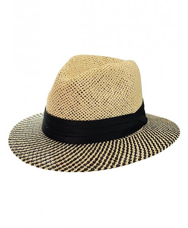 NYFASHION101 Teardrop Dent Two Tone Weaved Brim Panama Fedora Hat - CN124UO53QT