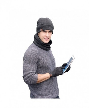 Neonr Winter Knitted Hat Scarf Gloves Three Sets for Men and Women-3 Pieces - Gray - C9185U23E4U